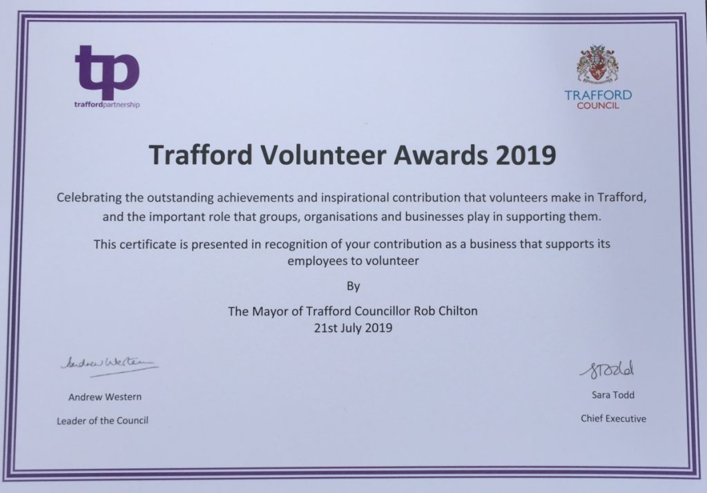 Trafford Volunteer Award 2019 - PT Design